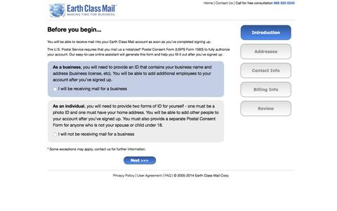 Screenshot of Signup Page earthclassmail.com - Sign Up For Earth Class Mail - captured Oct. 1, 2015