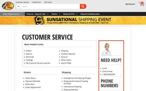 Screenshot of Support Page basspro.com - Bass Pro Shops Customer Service - captured July 17, 2017