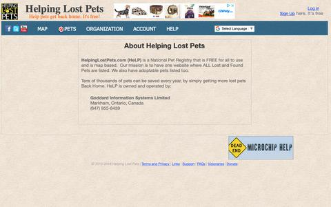 Screenshot of About Page helpinglostpets.com - Helping Lost Pets, Find cats dogs found pets missing stolen - captured Nov. 4, 2018