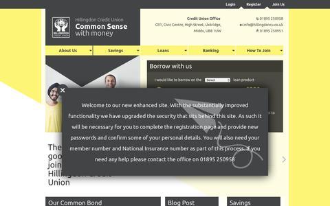 Screenshot of Home Page hillingdoncu.co.uk - Hillingdon Credit Union - captured Nov. 9, 2016