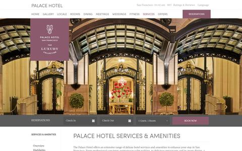 Screenshot of Services Page sfpalace.com - Palace Hotel Services & Amenities - Indoor Pool, Gym & Valet Parking - captured Sept. 23, 2018