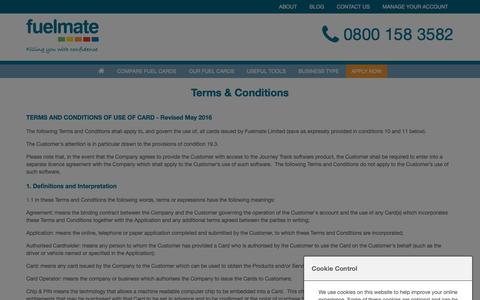 Screenshot of Terms Page fuelmate.co.uk - Terms & Conditions   Fuelmate - captured Oct. 11, 2018