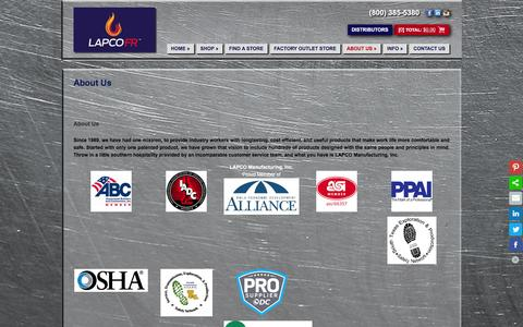 Screenshot of About Page lapco.com - About Us - LAPCO - captured Jan. 22, 2016