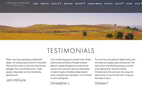 Screenshot of Testimonials Page levendiwinery.com - Testimonials - LEVENDI WINERY - captured Aug. 24, 2019