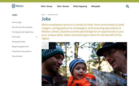 Screenshot of Jobs Page oregonmetro.gov - Jobs | Metro - captured Sept. 22, 2018