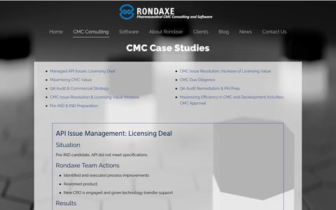 Screenshot of Case Studies Page rondaxe.com - CMC Case Studies – Rondaxe - captured Oct. 19, 2018
