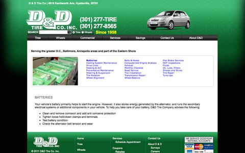Screenshot of Services Page ddtires.com - Auto Repair Services in Hyattsville MD – D & D Tire Co. - captured Oct. 2, 2014