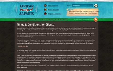 Screenshot of Terms Page africanbudgetsafaris.com - Terms & Conditions for Clients - captured Dec. 24, 2015