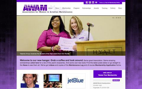 Screenshot of Home Page awam.org - AWAM – Association for Women in Aviation - captured Sept. 30, 2014