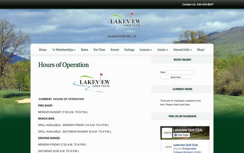 Screenshot of Hours Page lakeviewgolf.net - Hours of Operation | Lakeview Golf Club - captured April 13, 2017