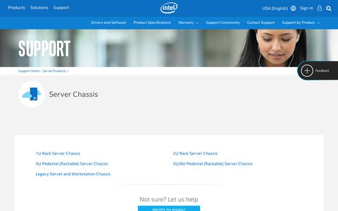 Screenshot of Support Page intel.com - Support for Server Chassis - captured April 9, 2018