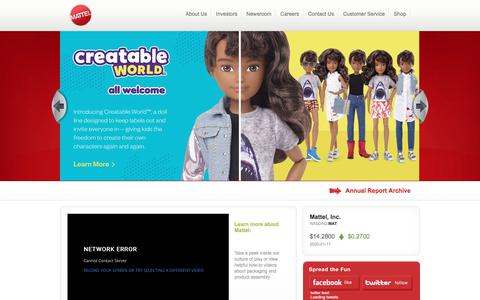 Screenshot of About Page mattel.com - Corporate Information About Mattel, Inc. | Creating the Future of Play - captured Jan. 19, 2020