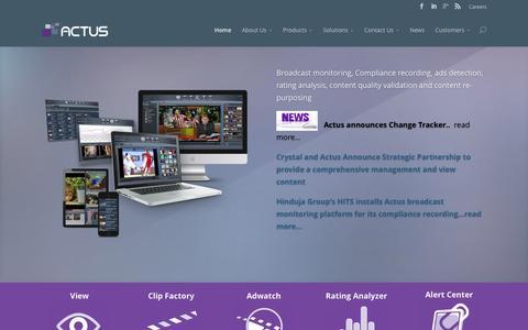 Screenshot of Home Page actusdigital.com - Broadcast monitoring, media monitoring, video logging - captured Dec. 23, 2015