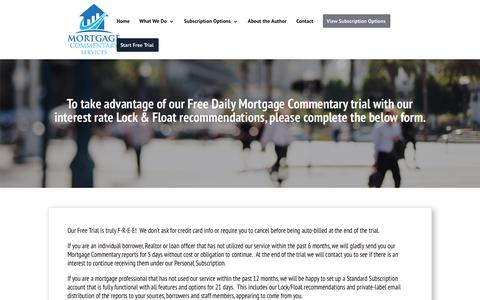 Screenshot of Trial Page mortgagecommentary.com - Free Trial | Mortgage Commentary Services - captured Nov. 21, 2018