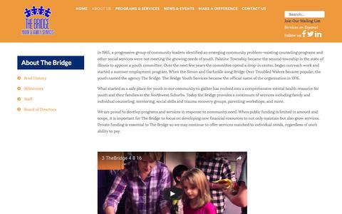 Screenshot of About Page bridgeyouth.org - The Bridge Youth & Family Services - About Us - captured Dec. 3, 2016