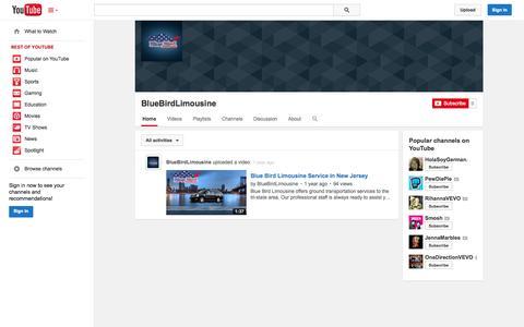 Screenshot of YouTube Page youtube.com - BlueBirdLimousine  - YouTube - captured Oct. 23, 2014