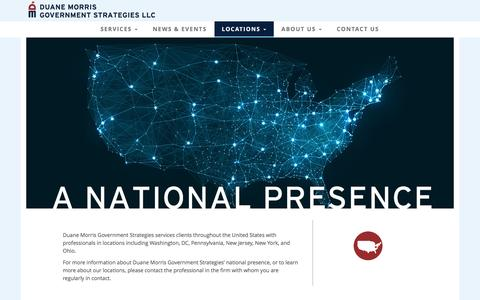 Screenshot of Locations Page dmgs.com - Duane Morris Government Strategies LLC | A National Presence - captured Nov. 24, 2016