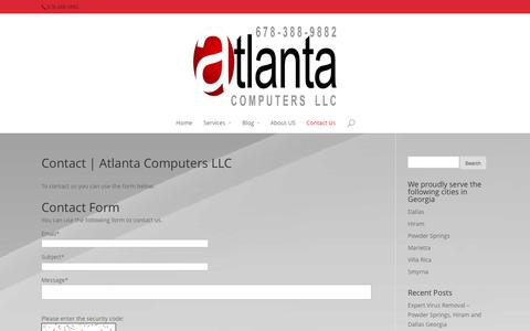 Screenshot of Contact Page atlantacomputersllc.com - Contact   Atlanta Computers LLC - AtlantaComputersLLC.com - captured Sept. 30, 2014
