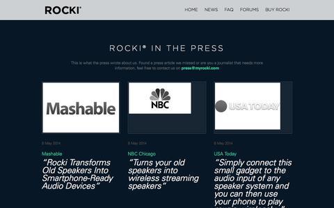 Screenshot of Press Page myrocki.com - Press - ROCKI - captured Sept. 17, 2014
