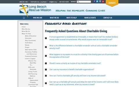 Screenshot of FAQ Page lbrm.org - Frequently Asked Questions | Long Beach Rescue Mission - captured Oct. 3, 2014