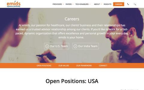 Screenshot of Jobs Page emids.com - Careers - emids Technologies - captured Feb. 9, 2016