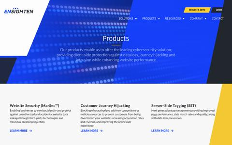 Screenshot of Products Page ensighten.com - Products - captured Aug. 28, 2019