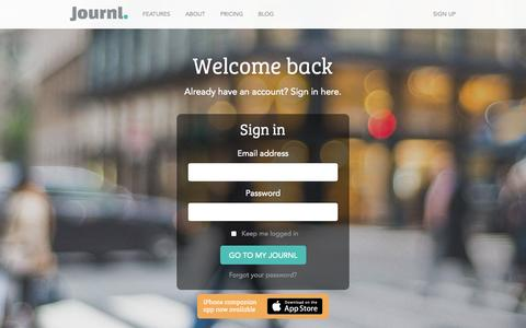 Screenshot of Login Page journl.com - Sign in to Journl - captured Sept. 23, 2014
