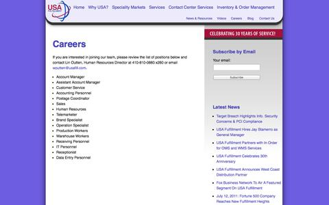 Screenshot of Jobs Page usafill.com - Careers at USA Fulfillment - captured Oct. 7, 2014