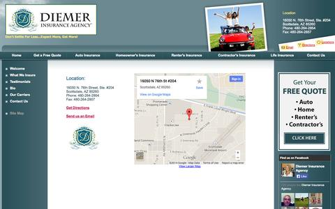 Screenshot of Contact Page Locations Page diemerinsuranceagency.com - Locations - Diemer Insurance Agency - captured Oct. 23, 2014