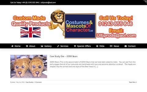 Screenshot of Case Studies Page costumesandmascots.com - Case Studies Archives - Costumes & Mascots - captured Nov. 4, 2016