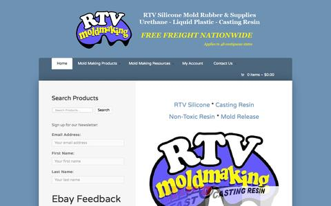 Screenshot of Home Page rtvmoldmaking.com - RTV Silicone * Casting Resin * Non-Toxic Resin * Mold Release - captured June 18, 2015