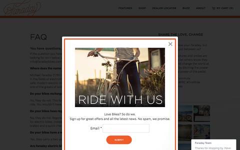 Screenshot of FAQ Page faradaybikes.com - Electric Bike FAQ | Faraday BicyclesFaraday Bikes - captured Sept. 8, 2016