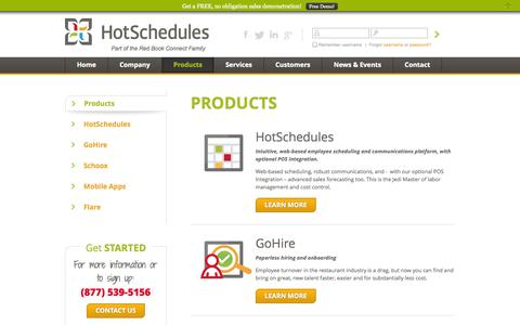 Screenshot of Products Page hotschedules.com - Employee scheduling, paperless hiring, eLearning - captured Sept. 18, 2014