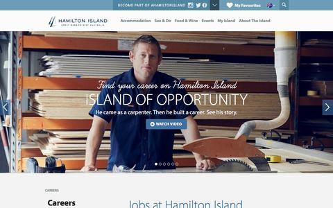 Screenshot of Jobs Page hamiltonisland.com.au - Hamilton Island Jobs in Tourism | Hamilton Island - captured Oct. 26, 2015