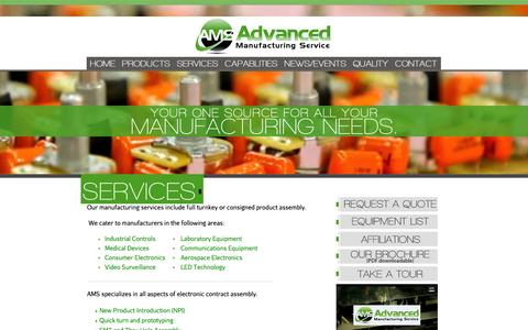 Screenshot of Services Page advancedmfgservice.com - Advanced Manufacturing Service Provides OEM's With a Cost Effective Manufacturing Solution | Electronic Manufacturing Service | Medical Device Manufacturing | Industrial Product Manufacturing | PCB Assembly - captured Oct. 4, 2014