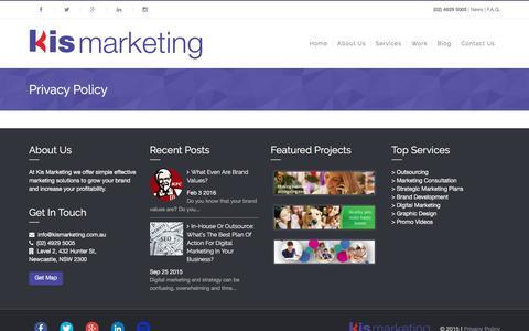 Screenshot of Privacy Page kismarketing.com.au - Privacy Policy – Kis Marketing - captured Feb. 12, 2016
