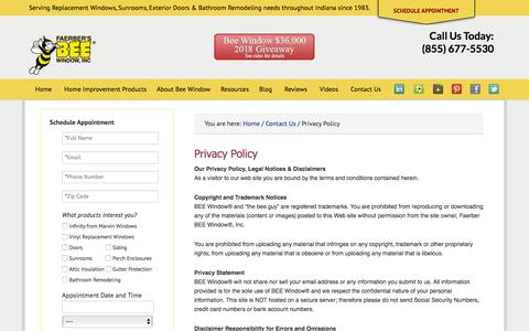 Screenshot of Privacy Page beewindow.com - Privacy Policy | Bee Window | Fishers, IN - captured Aug. 1, 2018