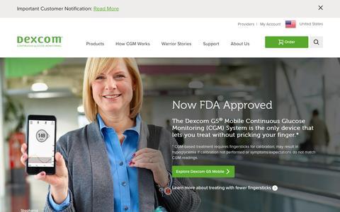 Screenshot of Home Page dexcom.com - Dexcom Continuous Glucose Monitoring   Dexcom CGM - captured April 10, 2017