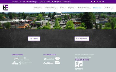 Screenshot of Signup Page hillsborochamberor.com - Join Now - Hillsboro Chamber of Commerce - captured Aug. 14, 2017