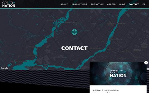 Screenshot of Contact Page creativnation.com - Audiovisual production company Laval Montreal Quebec | Creativ Nation - captured Nov. 3, 2018