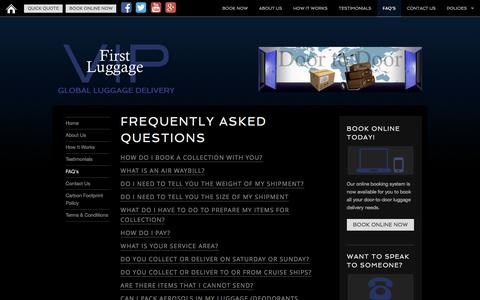 Screenshot of FAQ Page firstluggage.com - First Luggage VIP | FAQ - captured May 31, 2016