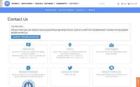 Screenshot of Contact Page motorola.com - Contactus  - Motorola Support - us - captured July 21, 2018