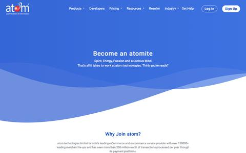 Screenshot of Jobs Page atomtech.in - atom technologies |amazing career opportunities at atom - captured Nov. 8, 2018