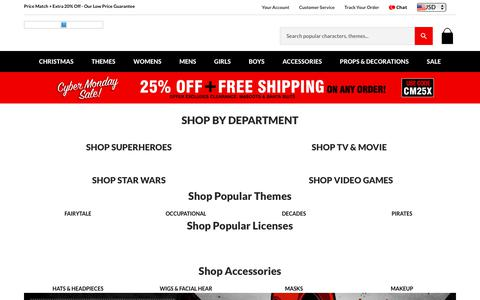 Screenshot of Home Page costumediscounters.com - Cheap Halloween Costumes and Low Price Guarantee | Costume Discounters - captured Nov. 27, 2017