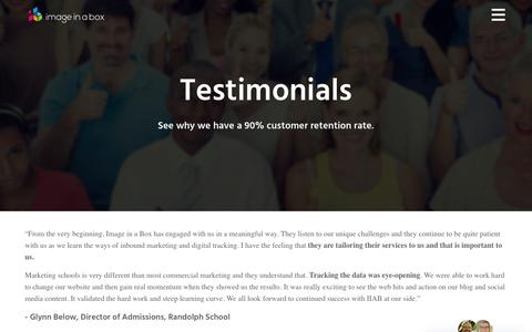 Screenshot of Testimonials Page imageinabox.com - Testimonials | Image in a Box - captured Sept. 19, 2018