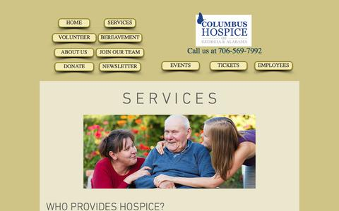 Screenshot of Services Page columbushospice.com - COLUMBUS HOSPICE | SERVICES - captured Aug. 17, 2017