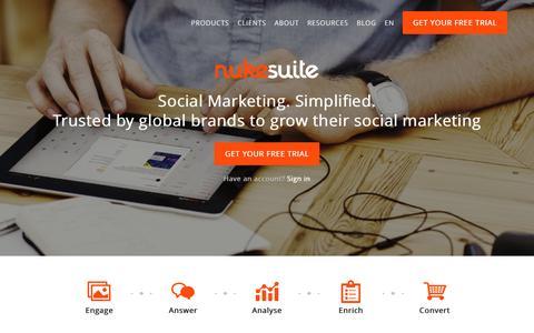 Screenshot of Home Page nukesuite.com - Nuke Suite, Social Media Management Solutions for Brands - captured Jan. 7, 2016
