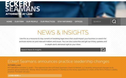 Screenshot of Press Page eckertseamans.com - News & Insights | Eckert Seamans - captured Oct. 21, 2016