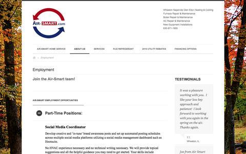 Screenshot of Jobs Page air-smart.com - Employment | Heating Cooling Furnace Boiler Repair Service - captured Nov. 20, 2016