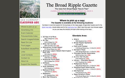 Screenshot of Locations Page broadripplegazette.com - Broad Ripple Gazette - Where to    get Gazette - captured Jan. 7, 2016